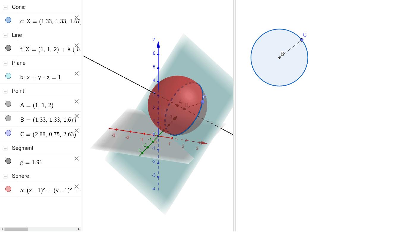Intersección de una esfera y un plano Press Enter to start activity