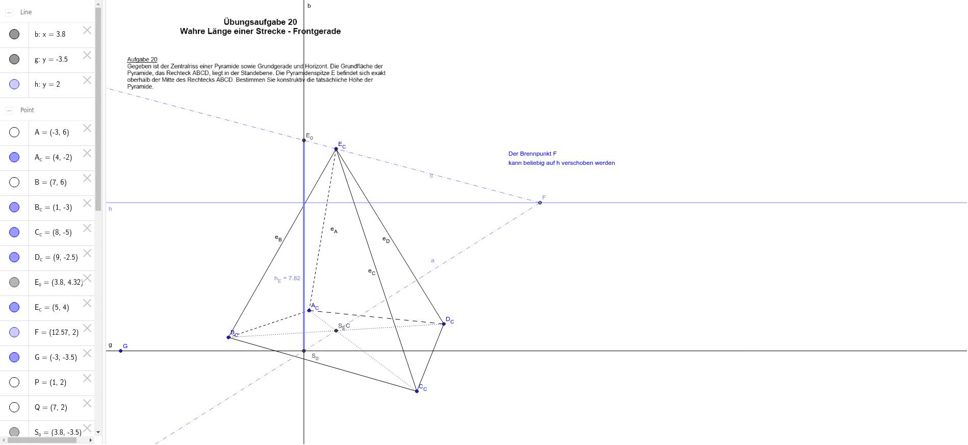 Zentralriss: wahre Länge einer Frontgeraden
