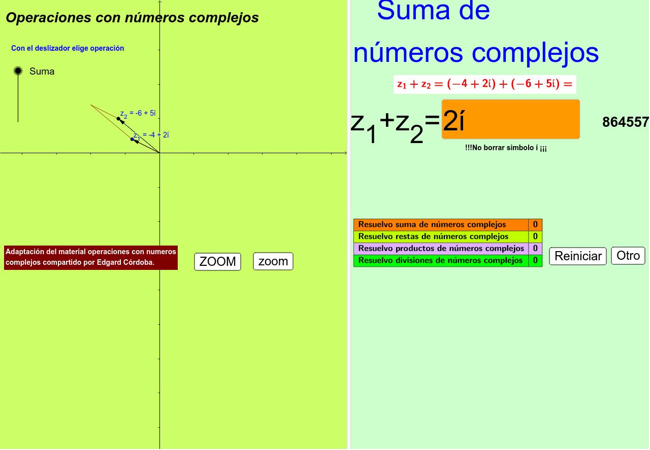 Adaptación del material:Operaciones con numeros complejos compartido por Edgard Córdova
