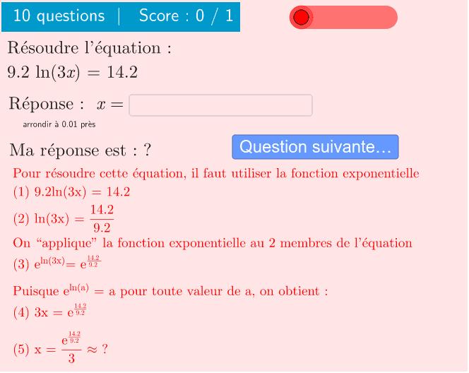"""10 questions sur la résolution d'une équation de la forme : a ln(bx) = c Tapez """"Entrée"""" pour démarrer l'activité"""