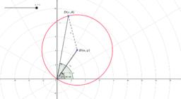 Coordenadas Polares: Circunferencia tal que contiene al polo, y cuyo centro es el punto B