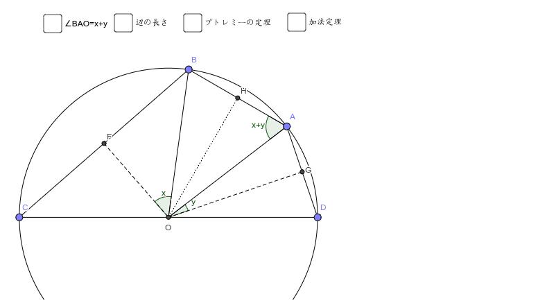 プトレミーの定理を使った加法定理の証明。とても簡単! ワークシートを始めるにはEnter キーを押してください。