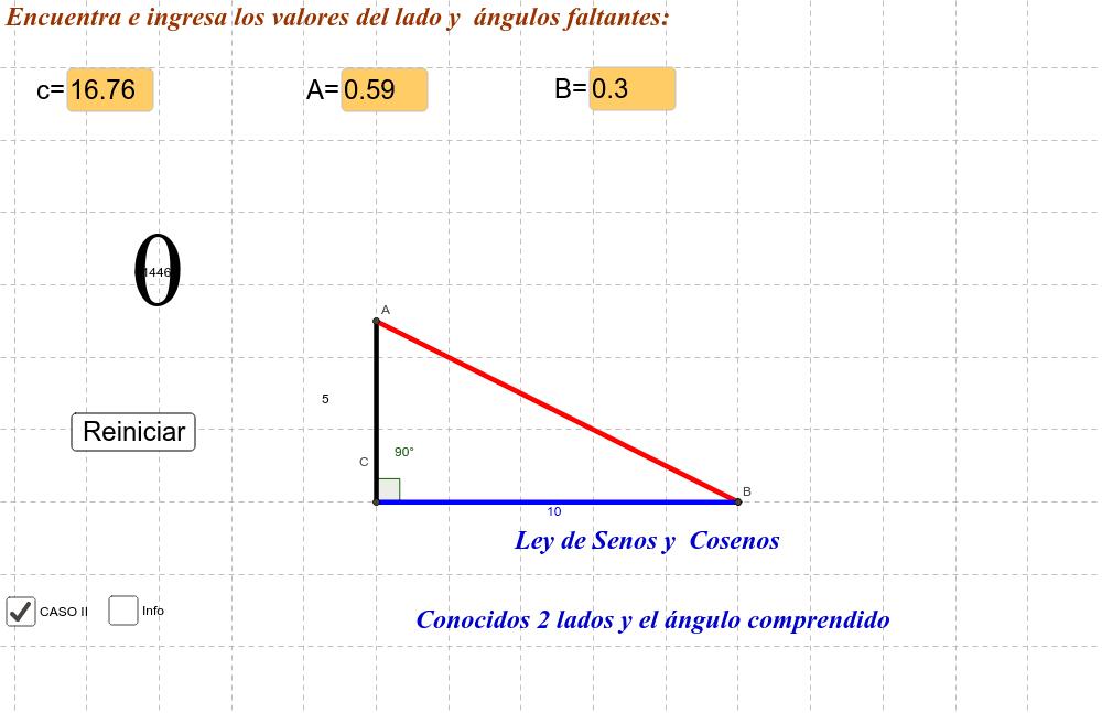 Conocidos 2 lados y el ángulo comprendido