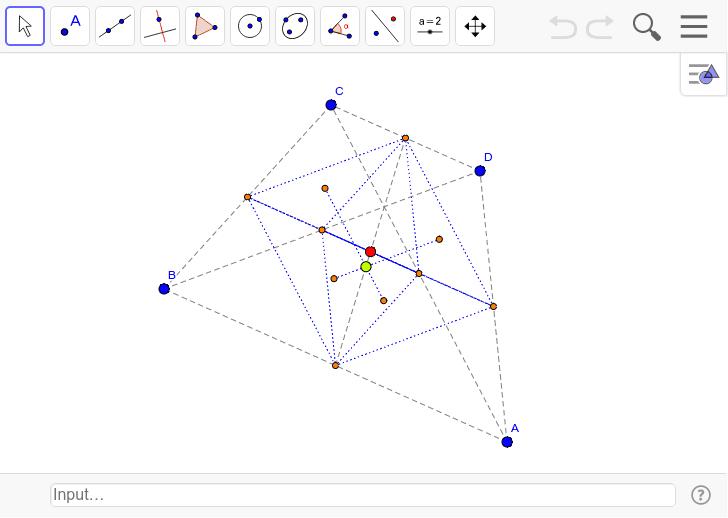 四角形の場合で頂点を動かすと、四角錐が現れてくる。立体の場合はどうなんだろうか?