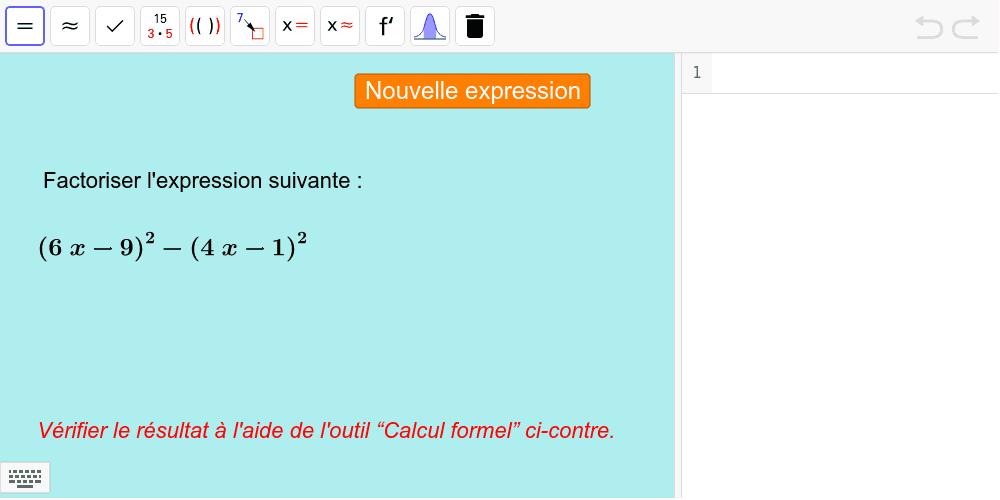 """Factoriser des expressions de type a² - b² Tapez """"Entrée"""" pour démarrer l'activité"""