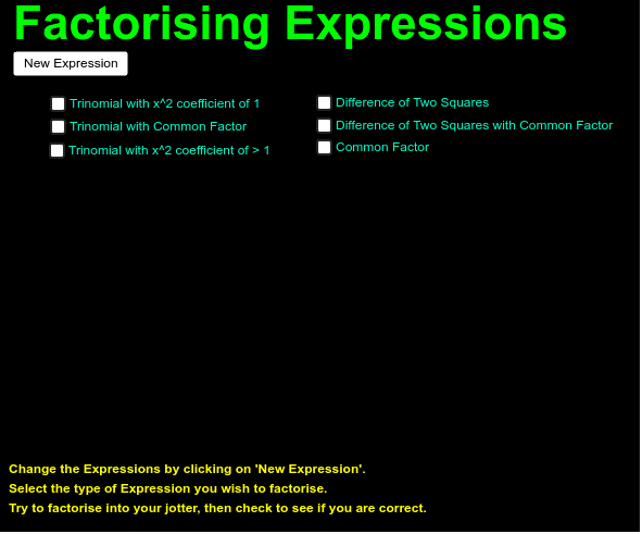 Using suitable writing materials, try to factor the different type of expressions. Press Enter to start activity