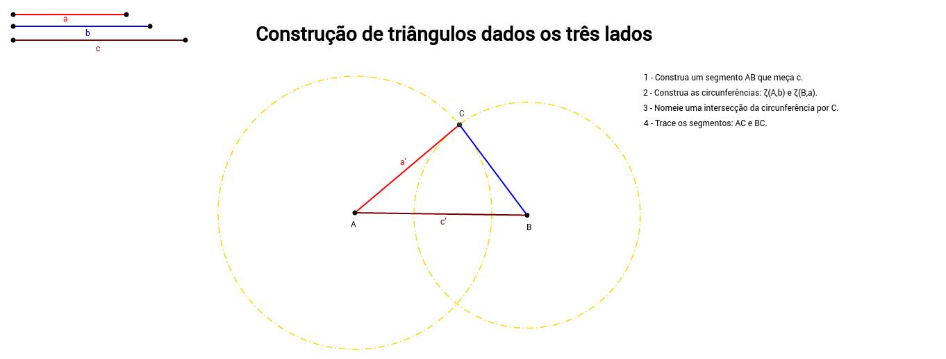 Construção de Triângulos dados os três lados