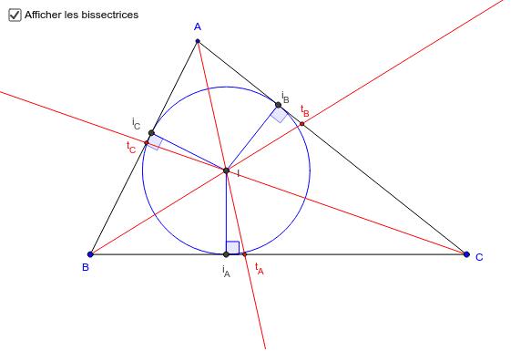 Bissectrices et cercle inscrit d'un triangle
