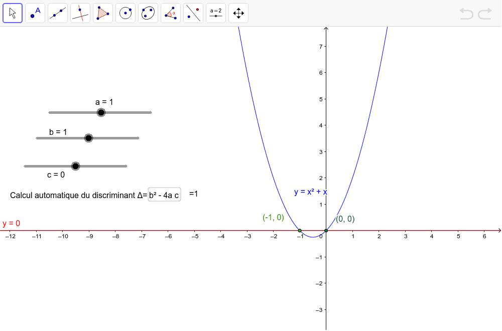 """entrer les valeurs de a, b et c et la feuille calcule le discriminant Tapez """"Entrée"""" pour démarrer l'activité"""