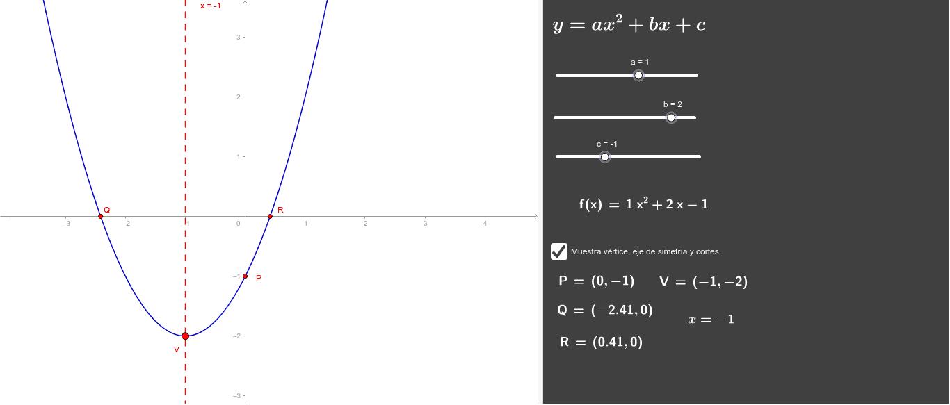 Mueve los coeficientes y obtendrás la parábola.