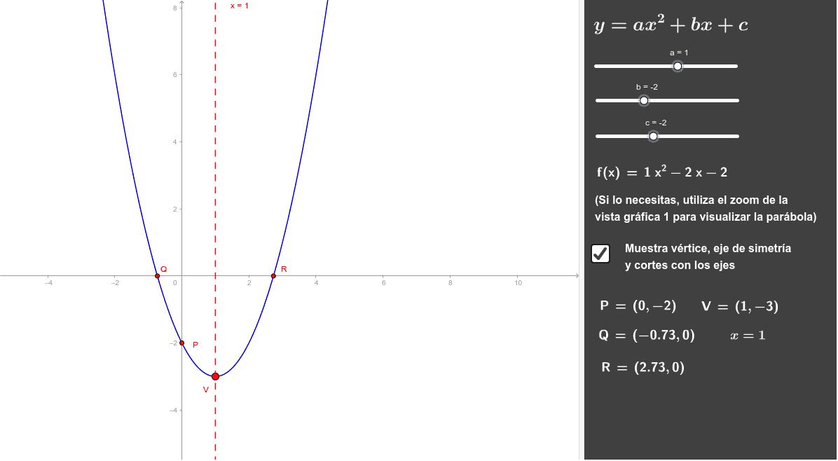 Mueve los coeficientes y obtendrás la parábola. Press Enter to start activity