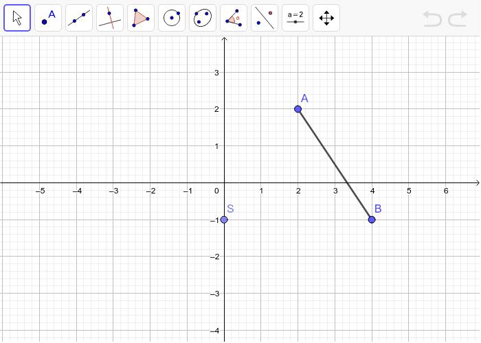 5. Rotiraj dužinu AB za -90° oko središta rotacije S.(smjer kazaljke na satu). Pritisnite Enter kako bi pokrenuli aktivnost