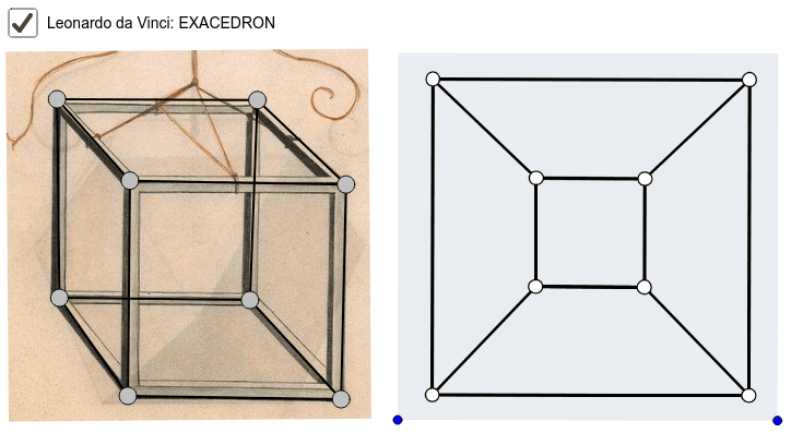 Posuň vrcholu obrázku krychle vlevo, aby jsi dostal přibližně stejný diagram jako na obrázku vpravo. Hrany grafu se nesmí křížit.