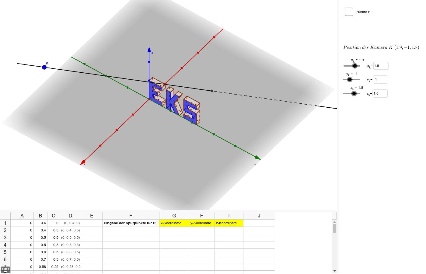 Eingabe der berechneten Spurpunkte über Tabelle Drücke die Eingabetaste um die Aktivität zu starten