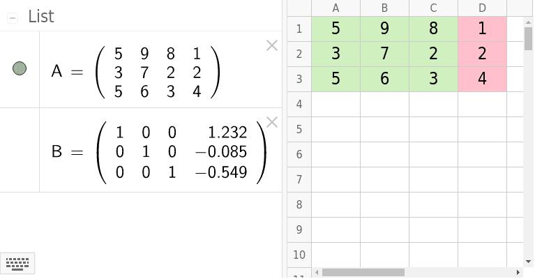Modifique os valores da planilha. Em verde são os coeficientes da matriz incompleta e em rosa os termos independentes. Pressione Enter para iniciar a atividade