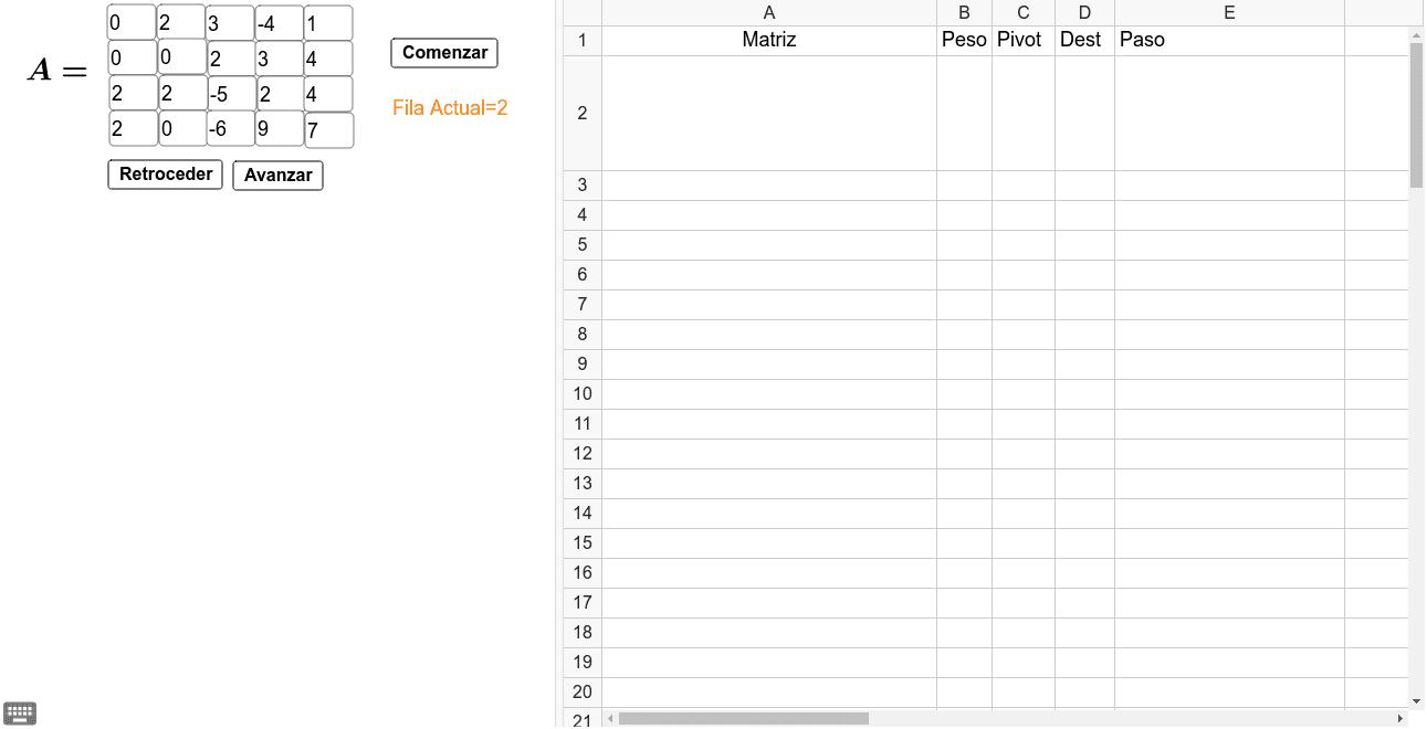 Matriz Escalonada Reducida 4x5 (Para Sistemas de Ecuaciones de 4x4) Presiona Intro para comenzar la actividad