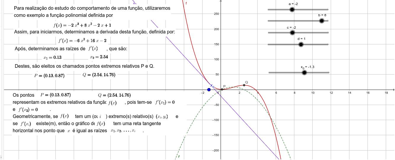 Utilize os controles deslizantes para modificar a função e perceber o efeito dos coeficientes sobre o modelo. Press Enter to start activity