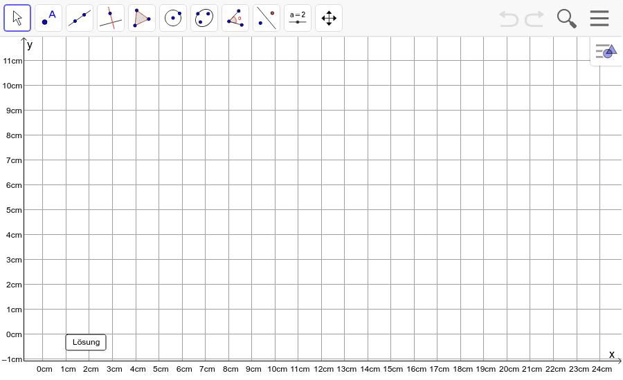 Dreieck 3: A(5/0), B(10/7), C(1/2): Zeichne das Dreieck und konstruiere den Umkreis. Füge den Screenshot der Koordinaten von U im Auftrag in Teams ein! Drücke die Eingabetaste um die Aktivität zu starten