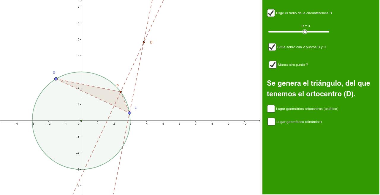 Lugar geométrico de los ortocentros de triángulos con vértices en una circunferencia de radio R.