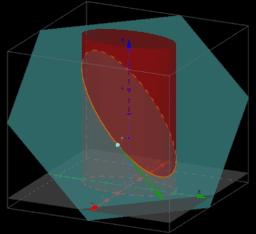 Vetor tangente à curva de interseção de um cilindro com plano