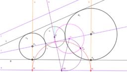 Circunferencias tangentes a dos rectas y a otra circunferencia dada