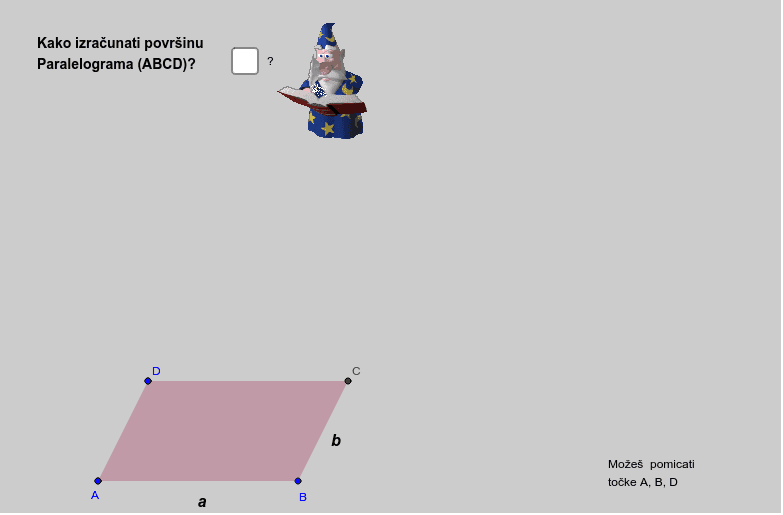 Površina paralelograma Pritisnite Enter za pokretanje.