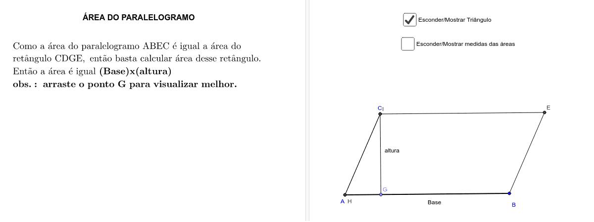 Fórmula da área do paralelogramo
