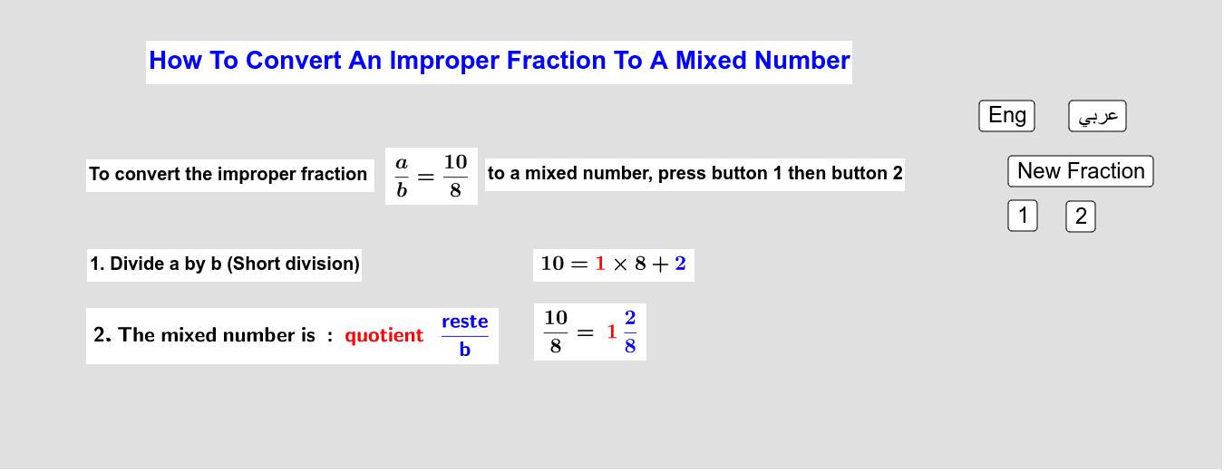 How To Convert An Improper Fraction to A Mixed Number         كيف نُحوّل كسراً زائداً إلى عدد كسري