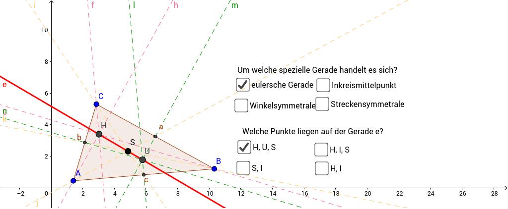 Finde heraus, um welche spezielle Gerade es sich handelt! Ziehe am Eckpunkt B und schaue, wie sich das Dreieck verändert!