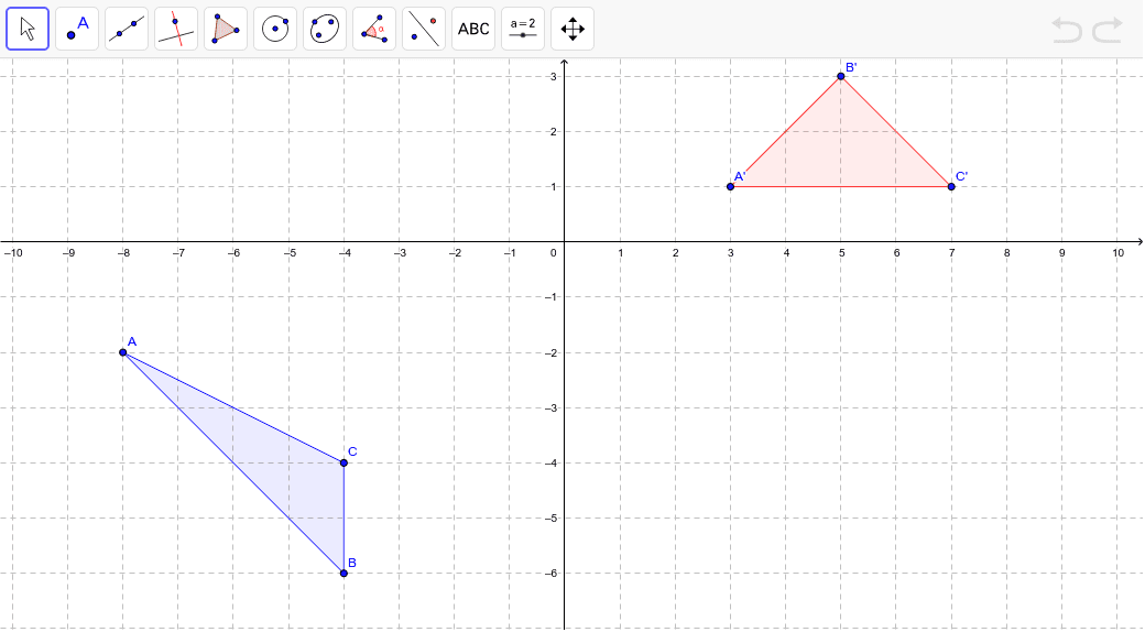 First rotate the triangle over the 90 degrees counterclockwise about the origin. Then reflect the image using x = 1. Move points A', B', and C' to where you think the final image will be. Press Enter to start activity
