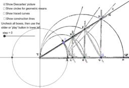 Descartes's Mean Proportionals/Logarithm Machine