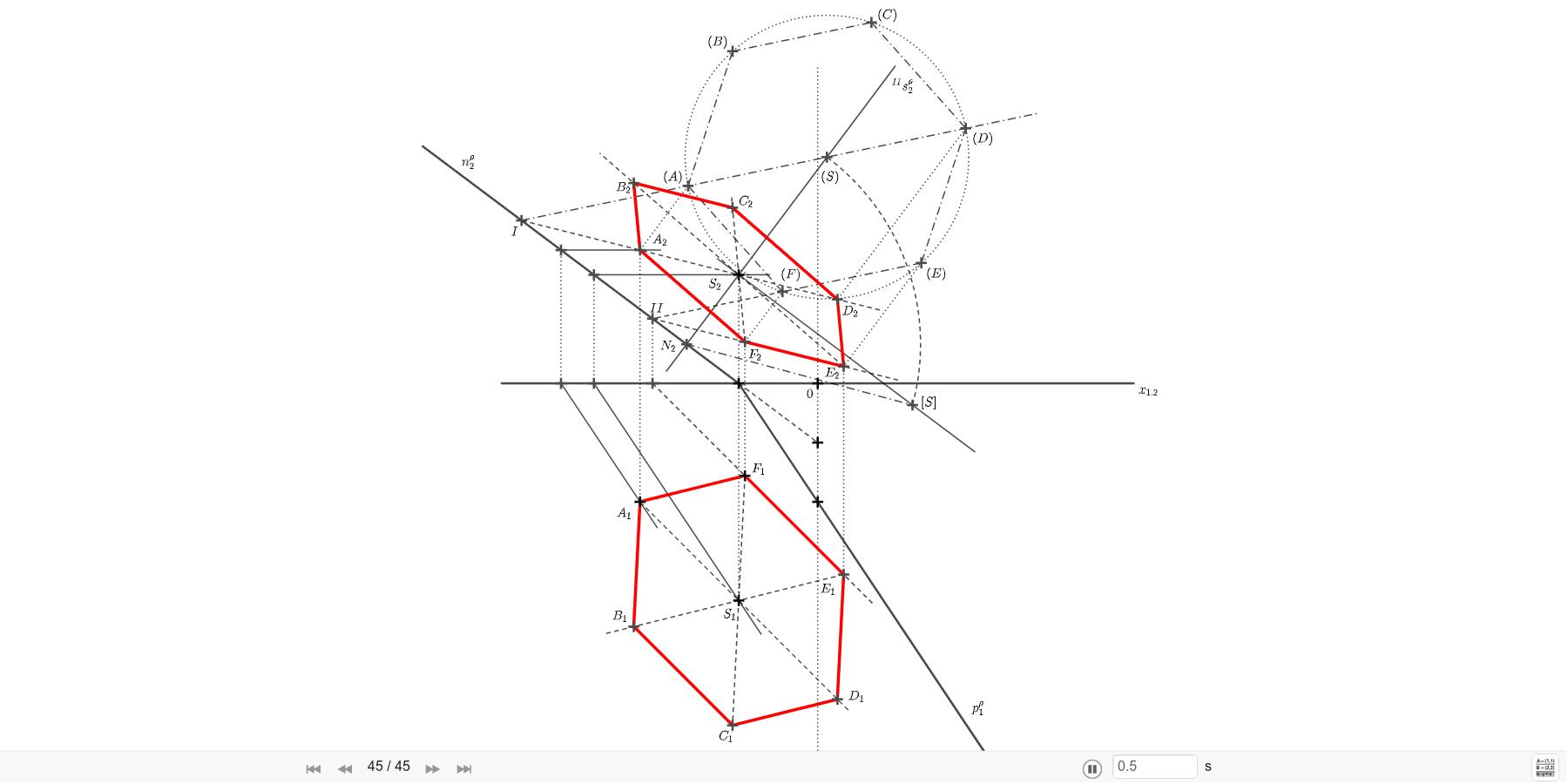 V rovině ρ=(-2; 3; -1,5) sestrojte pravidelný šestiúhelník se středem S=[-2; 5,5; ?] a vrcholem A=[-4,5; 3; ?]. Zahajte aktivitu stisknutím klávesy Enter