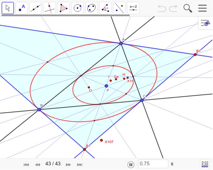 三角形ABCがチェバ三角形になる三角形A1B1C1の作図。Pが極で極線を利用する。Pがジェルゴンヌ点にある時は円になる。内接円錐曲線と接する三角形の作図。 ワークシートを始めるにはEnter キーを押してください。
