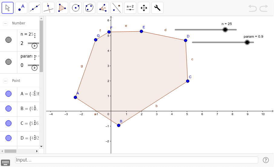 use the tool or type in input bar Tool1[poly1,n,param] Press Enter to start activity