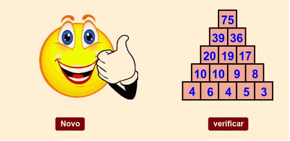 Construa a pirâmide arrastando os números para os seus lugares corretos. Cada número da pirâmide, a partir da segunda camada, deve ser igual à soma dos dois números que estão abaixo dele. Press Enter to start activity