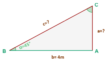 2) Resolver las incógnitas de este triángulo rectángulo