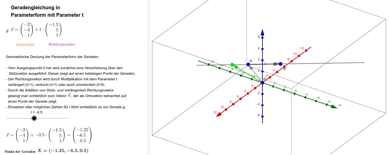 """Geradengleichung in Parameterform (""""Vektorschreibweise"""") Drücke die Eingabetaste um die Aktivität zu starten"""