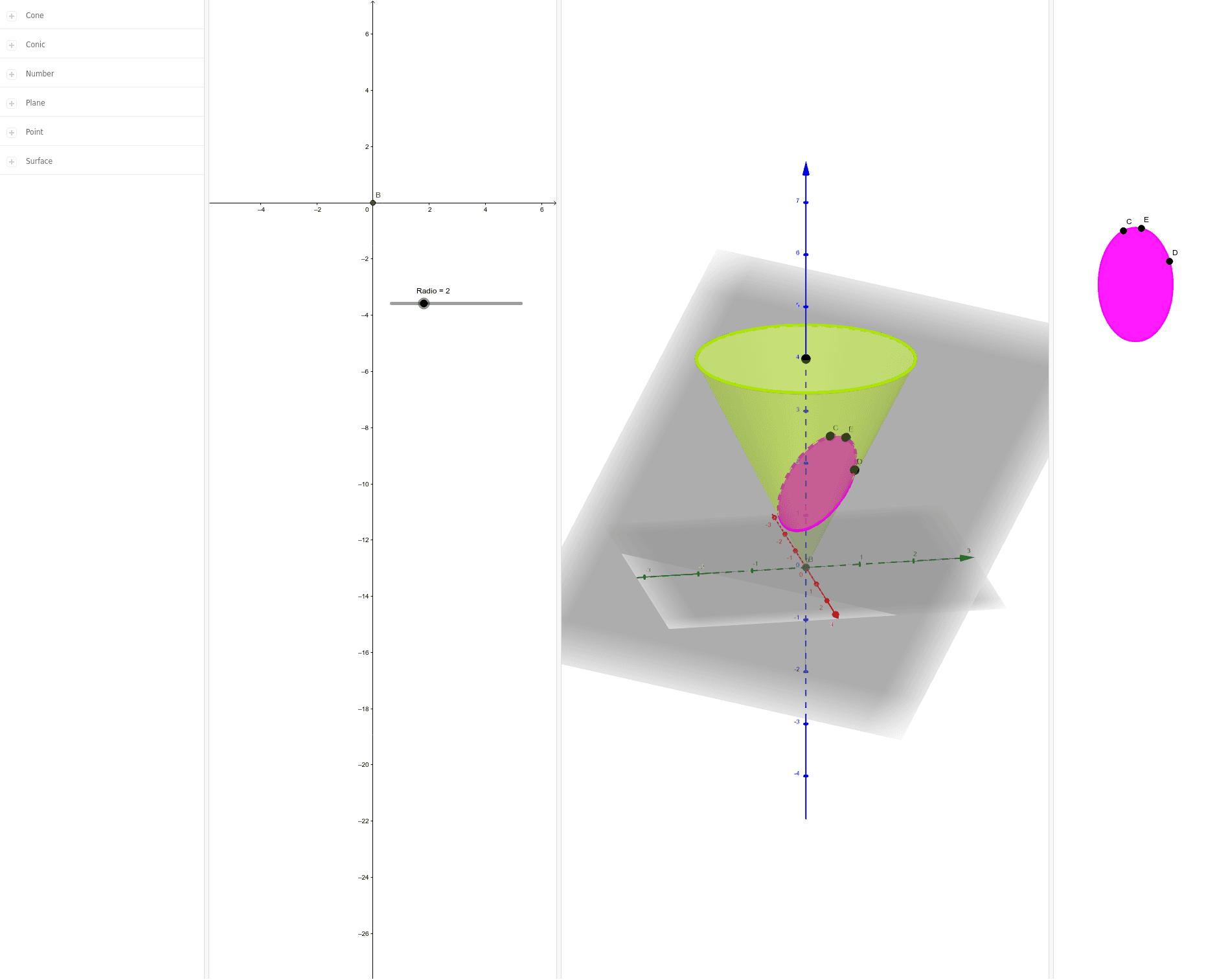 Modifique el Radio y los puntos que se encuentran sobre el cono para describir la figura que se forma al intersecar el plano y el cono.
