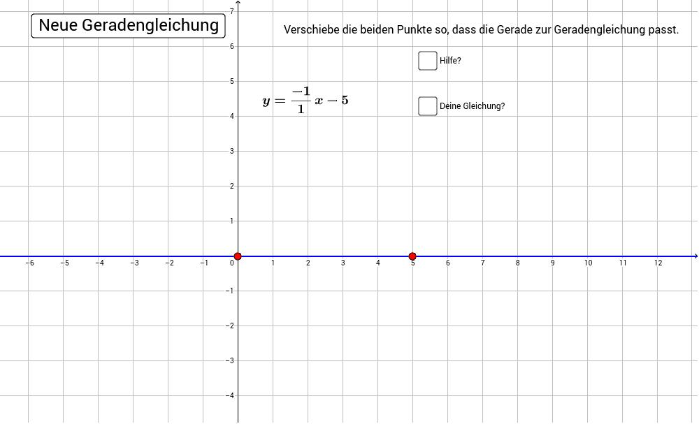 Erstelle die richtige Gerade zur Geradengleichung, in dem du die beiden roten Punkte verschiebst.