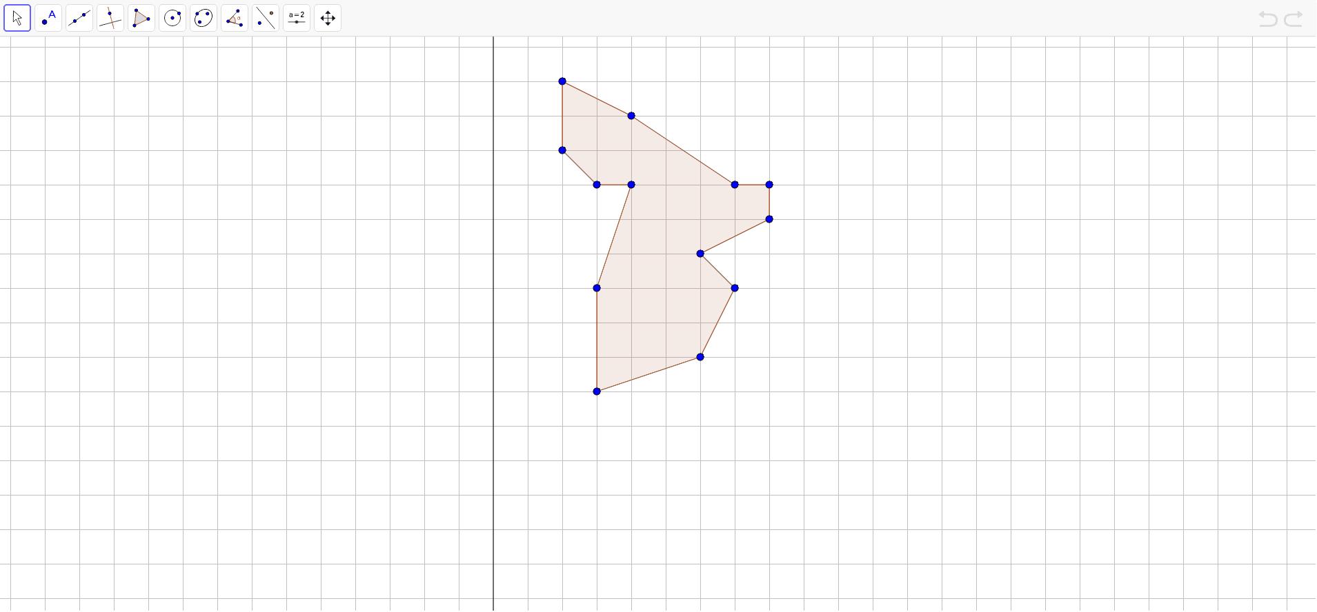 """Reflektirati točke u odnosu na pravac, povezati u mnogokut te točnost rješenja provjeriti upotrebom """"reflect about line"""" alatom.  Press Enter to start activity"""