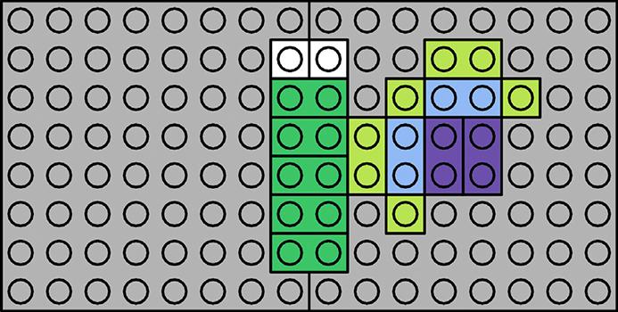 Kan du bygge resten denne sommerfugl på LEGO pladen? Kan du finde symmetriaksen - altså den linje der deler sommerfuglen i to ens halvdele?
