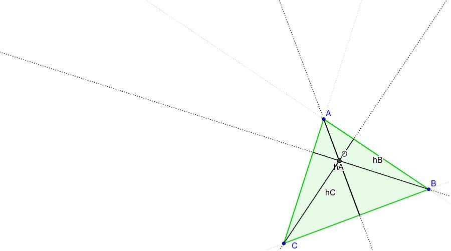 L'ortocentre és el punt on es tallen les tres altures d'un triangle. Premeu Enter per iniciar l'activitat