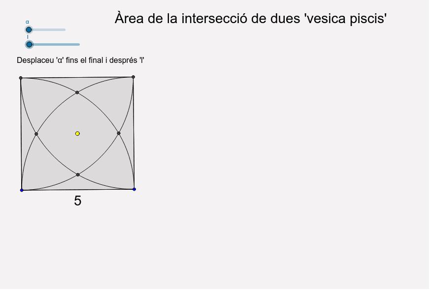 Càlcul de l'àrea com a suma de quatre segments circulars i un quadrat Premeu Enter per iniciar l'activitat