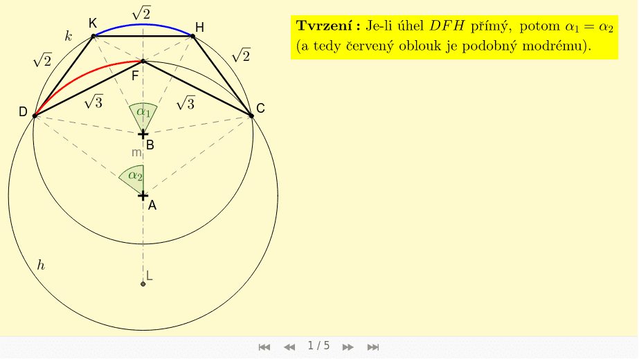Rozbor konstrukce - část 2 - Důkaz, že je-li úhel DFH přímý, potom je modrý a červený oblouk podobný: