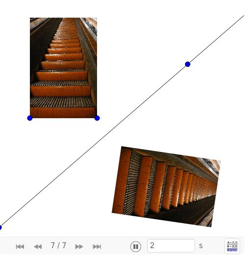 Klik onderaan op || en je kan stap na stap zien hoe het applet gemaakt werd.