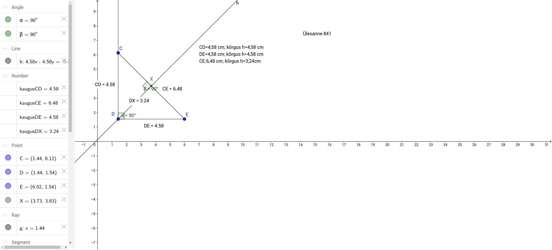 Joonesta täisnurkne kolmnurk ja kõrgused kui aluseks on valitud hüpotenuus.