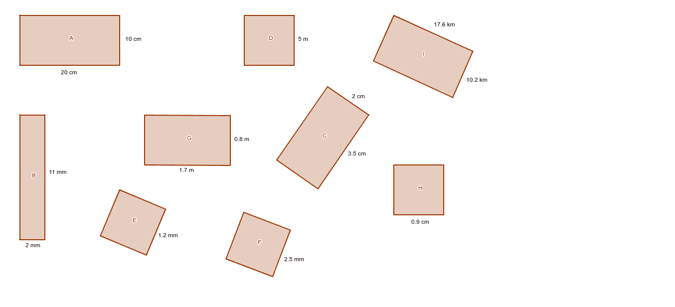 Calculate the area of at least 2 rectangles and/or squares of your choice (note: G, H, I are more challenging) and discuss your results with your group. Press Enter to start activity