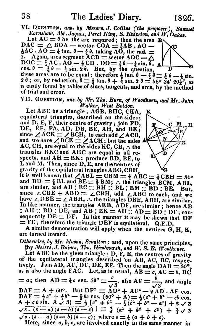 Demostración de 1826 publicada en el Diario de las Damas.