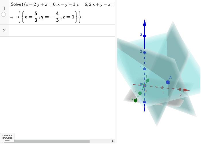 En la primer figura se muestran tres planos que se intersectan en un solo punto ( sistema consistente determinado). Presiona Intro para comenzar la actividad