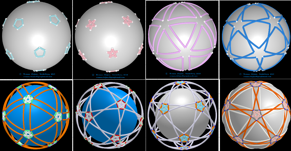 projections of segments of the Biscribed Pentakis Dodecahedron(9) on sphere surface: Segments 1-4.
